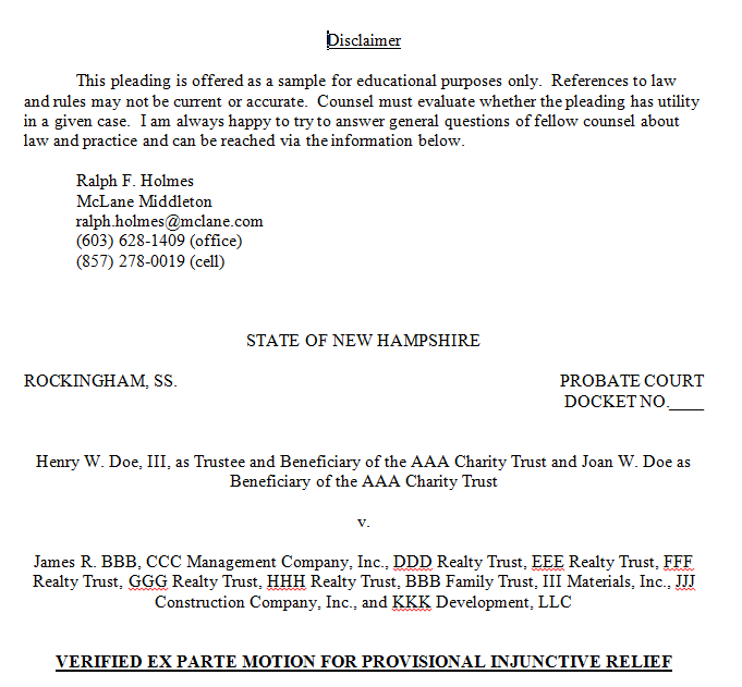 Petition – Ex Parte Injunction to Escrow Funds – McLane Middleton ...