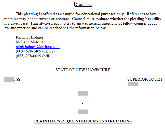 Proposed Jury Instructions – Breach of Contract – McLane Middleton ...